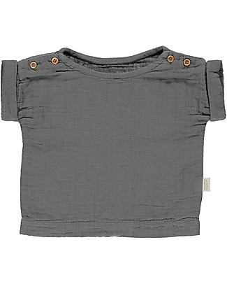 Poudre Organic Lin T-shirt with Folded Cuffs and Buttons, Iron Gate - 100% organic cotton Jumpers