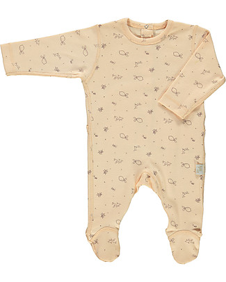 Poudre Organic Long Sleeved Onepiece, Pink with Bergamot Print - 100% organic cotton Pyjamas
