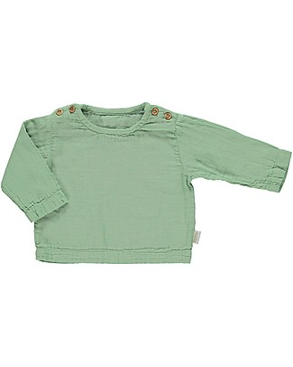 Poudre Organic Long Sleeves Blouse with Buttons Houblon, Greenjade (3+years) - 100% organic cotton Long Sleeves Tops