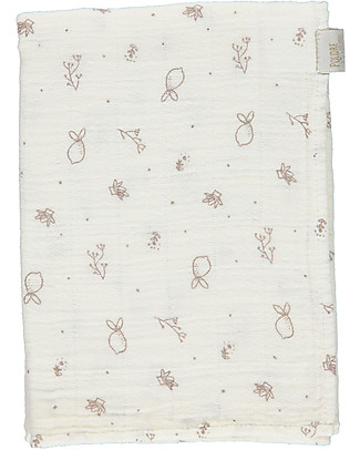 Poudre Organic Multiuse Muslin Cloth, Milk with Bergamot Print 60x60 cm - 100% organic cotton Swaddles