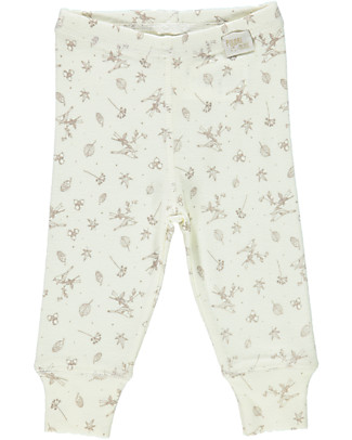 Poudre Organic Organic Cotton Jersey Leggings, Milk with Autumn Breeze Print Leggings