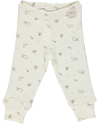 Poudre Organic Organic Cotton Jersey Leggings, Milk with Bergamot Print Leggings