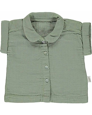 Poudre Organic Short Sleeves Blouse with Collar and Buttons Balsamine (24 months), Oil Green - 100% organic cotton Shirts And Blouses