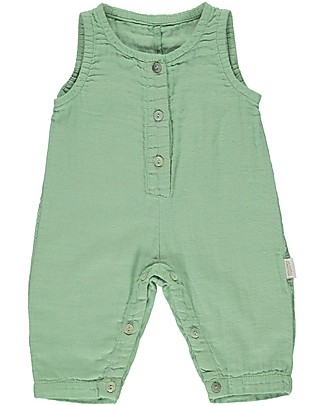 Poudre Organic Sleeveless Onepiece with Buttons Badiane, Green Jade (1-2 years) - 100% organic cotton Sets And Co-Ords