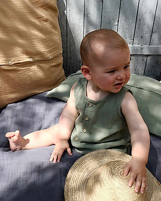 Poudre Organic Sleeveless Onepiece with Buttons Poivre, Oil Green - 100% organic cotton Short Rompers