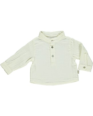 Poudre Organic Three Buttons Shirt, Milk - 100% organic cotton Shirts And Blouses