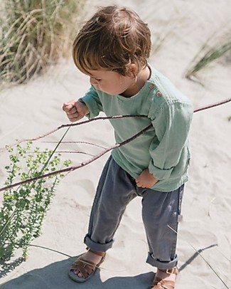 Poudre Organic Unisex Trousers, Iron Gate (1-2 years) - 100% organic cotton Trousers