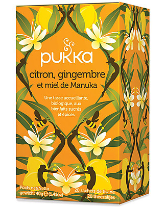 Pukka Lemon, Ginger & Maunka Honey Tisane, 20 teabags - It stimulates the body's defenses Infusions