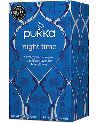 Pukka Night Time, Tisane with Oat Flowers, Lavender and Lime Flowers, 20 teabags - It promotes good sleep Infusions