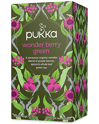 Pukka Wonder Berry Green, Tisane with Berries, Spices & Green Tea, 20 teabags - It stimulates the body's senses Infusions
