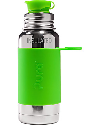 Pura Kiki Insulated Sport Bottle, Green, 475 ml - The first 100% plastic-free sport battle on the market! Thermos Bottles