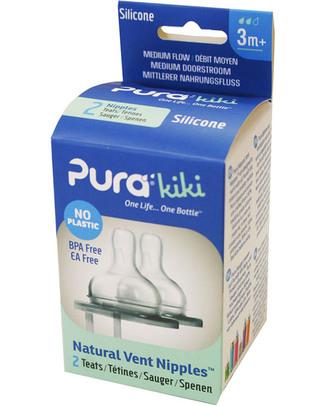 Pura Kiki Natural Vent Nipples - Medium Flow - Pack of 2! Stainless Steel Baby Bottles