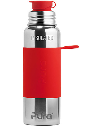 Pura Kiki Pura Kiki Sport Vacuum Insulated Bottle, Red, 650 ml - The first 100% plastic-free sport battle on the market! Metal Bottles