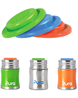 Pura Kiki Silicone Sealing Disks - Pack of 3 Bold Colours! Stainless Steel Baby Bottles
