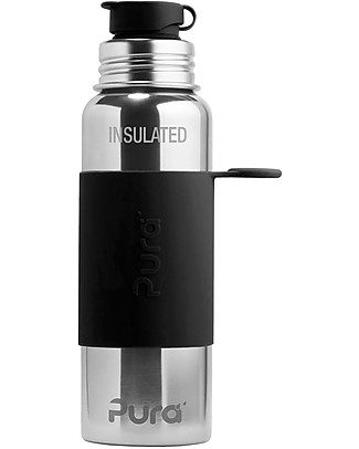 Pura Kiki Sport Bottle, Black, 650 ml - The first 100% plastic-free sport battle on the market! null