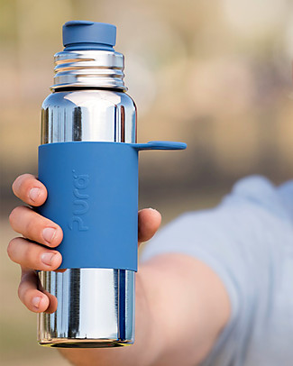 Pura Kiki Sport Bottle, Blue, 850 ml - The first 100% plastic-free sport battle on the market! Metal Bottles