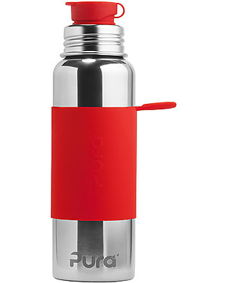 Pura Kiki Sport Bottle, Red, 850 ml - The first 100% plastic-free sport battle on the market! Metal Bottles