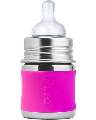 Pura Kiki Stainless Steel Baby Bottle - 150 ml - Pink Silicone Stainless Steel Baby Bottles