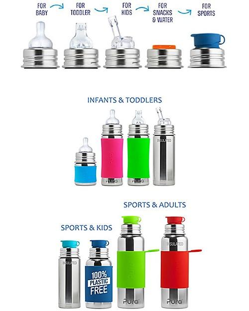 Pura Kiki Stainless Steel Vacuum Insulated Baby Bottle - 250ml - Pink - Medium Flow Teat 3+ Months Stainless Steel Baby Bottles