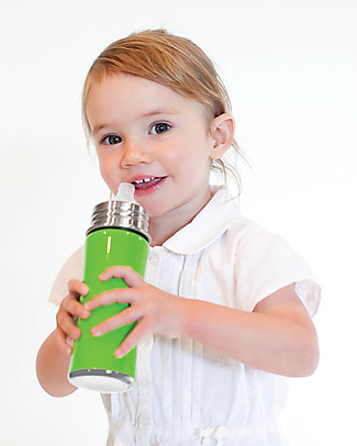 Pura Kiki Stainless Steel Vacuum Insulated Toddler Sippy Bottle - 266ml - 6+ months - Natural Stainless Metal Bottles
