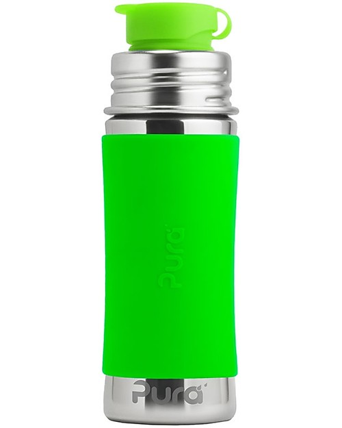 Pura Kiki Stainless Still Bottle with Sport Top, 325 ml - Green Stainless Steel Baby Bottles