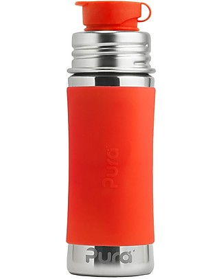 Pura Kiki Stainless Still Bottle with Sport Top, 325 ml - Orange Stainless Steel Baby Bottles