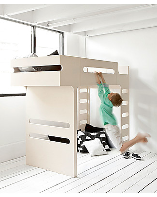 Rafa Kids F Bunk Bed Whitewash - Finnish Birch Bunk Beds