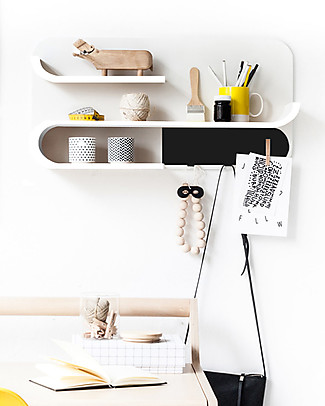 Rafa Kids Kids M Shelf, White wood and Black metal - Finnish birch Shelves