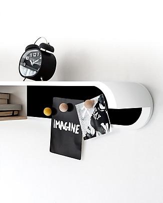 Rafa Kids Kids S Shelf, White wood and Black metal - Finnish birch Shelves