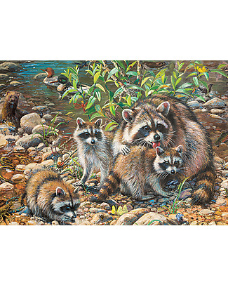 Red Glove Racoon Family Puzzle, 350 Pieces Memory Games