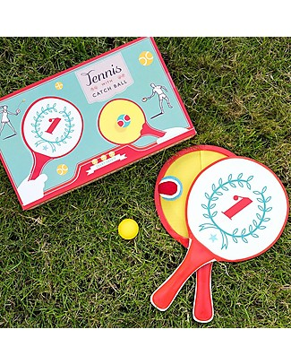 Rex London 2 in 1 Playset Tennis with Catch Ball - Retro style super fun games Traditional Toys