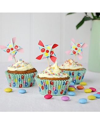 Rex London Baking Set Cupcake Cases + Toppers, Carnival Time Cake Decorations