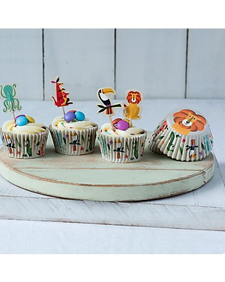 Rex London Baking Set Cupcake Cases + Toppers, Colourful Creatures Cake Decorations