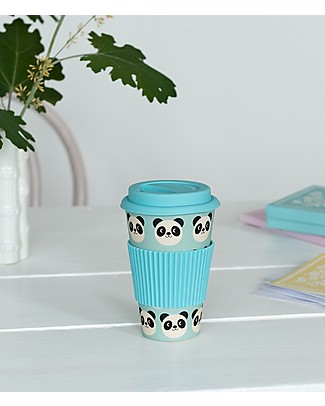 Rex London Bamboo Travel Mug 400 ml, Miko the Panda - Original and Eco-Friendly Cups & Beakers
