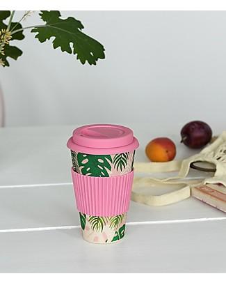 Rex London Bamboo Travel Mug 400 ml, Tropical palm - Original and Eco-Friendly Cups & Beakers