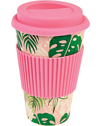 Rex London Bamboo Travel Mug 400 ml, Tropical palm - Original and Eco-Friendly Cups & Beakers