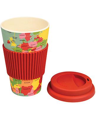 Rex London Bamboo Travel Mug 400 ml, World Map - Original and Eco-Friendly Cups & Beakers