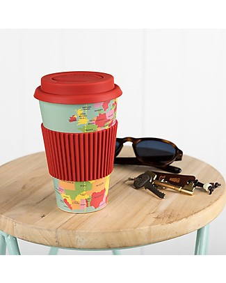 Rex London Bamboo Travel Mug 400 ml, World Map - Original and Eco-Friendly Cups & Beakers