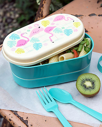 Rex London Bento Box, Flamingo Bay - BPA free! Lunch Boxes in Metal