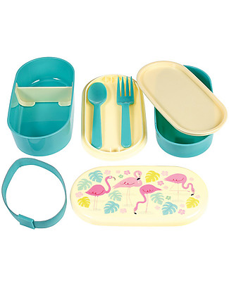 Rex London Bento Box, Flamingo Bay - BPA free! Snack and Formula Containers