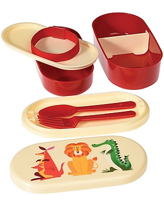 Rex London Colourful Creatures Bento Box - BPA free! Snack and Formula Containers
