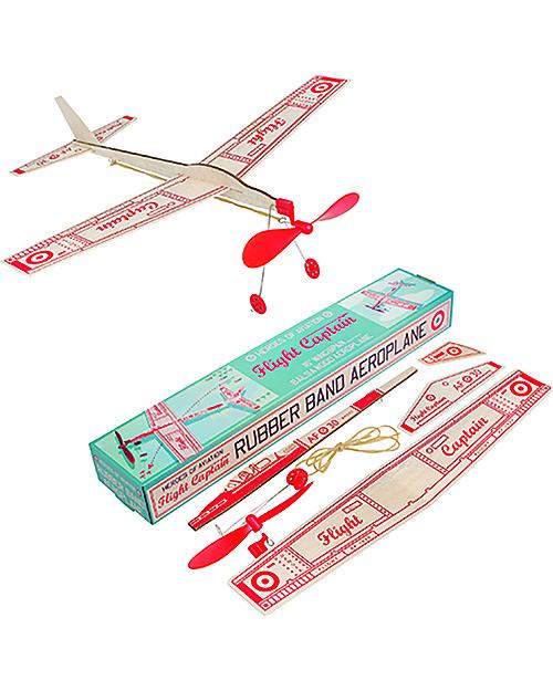 Rex London Flight Captain Rubber Band Aeroplane Unisex Bambini