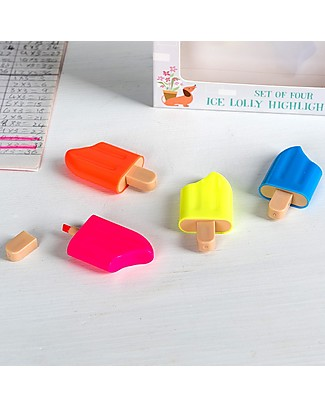 Rex London Highlighter Pens, Ice Lolly - Four colours: Yellow, Orange, Pink and Blue Colouring Activities