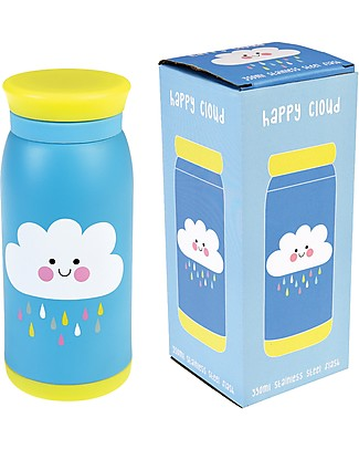 Rex London Kids Flask 350 ml, Happy Cloud - Stainless Steel Thermos Bottles