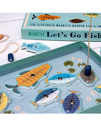 Rex London Let's Go Fishing, Magnetic Game - 10 wooden fishes! Traditional Toys