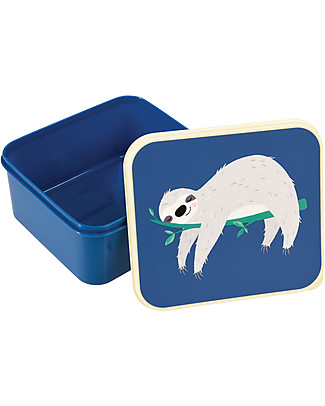 Rex London Lunch Box, Sloth 13.5x15x7 - Original and BPA free! Snack and Formula Containers