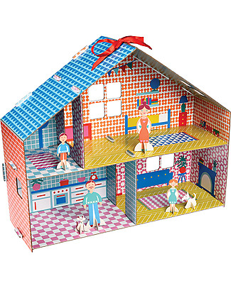 Rex London Make Your Own Dolls House - Cardboard dolls house with 6 characters! Paper & Cardboard