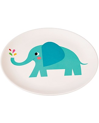 Rex London Melamine Baby Plate, Elvis the Elephant - Free from BPA, PVC, phthalates and lead! Bowls & Plates
