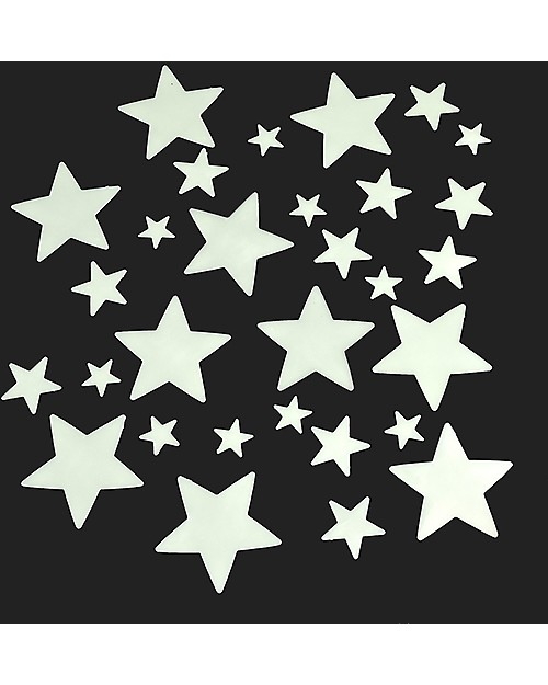 Rex London Night Sky, Box of 30 Glow in the Dark Stars, Assorted Sizes Wall Stickers