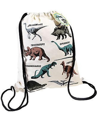 Rex London Soft Cotton Drawstring Bag 37 x 31 cm, Dinosauri - Perfect for pre-schoolers! Small Backpacks